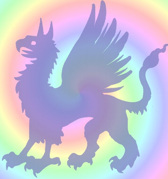 Gryphon graphic against rainbow-colored spiral