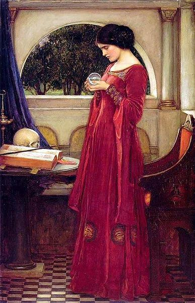 Painting of woman in red dress holding crystal ball