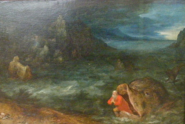 Painting of Jonah emerging from the mouth of the whale on the shore