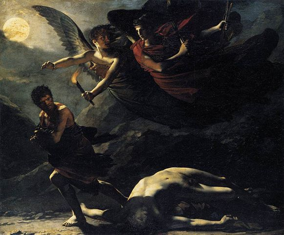 Painting of two angels pursuing a thief