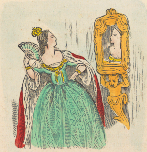 Snow White's evil step-mother asking her mirror who's the fairest in the land