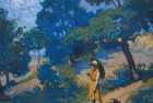 Painting of a woman in 1930s dress on a hillside, probably in Europe