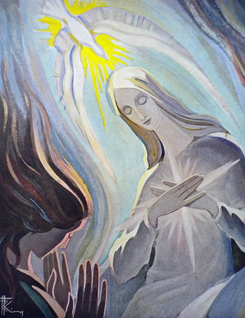 Painting by Irish painter of Mother Mary's visit from the angel Gabriel and the dove of the Holy Spirit hovering above her head