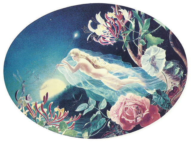 Beautiful maiden flying among flowers with morning star in the sky