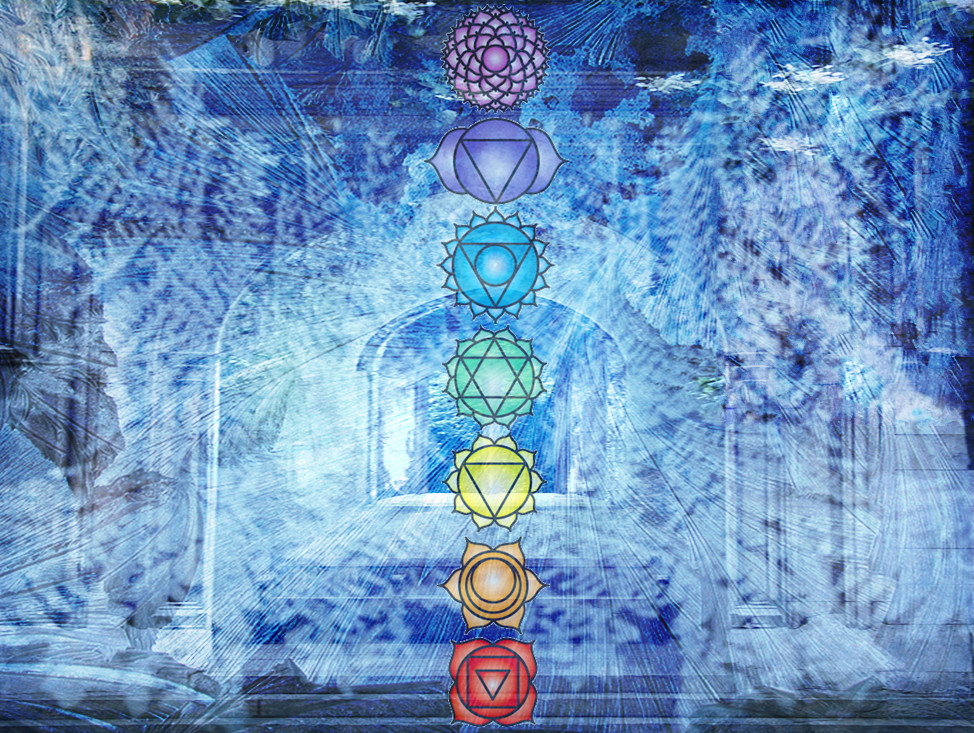 Archway with chakras and frosty texture overlay