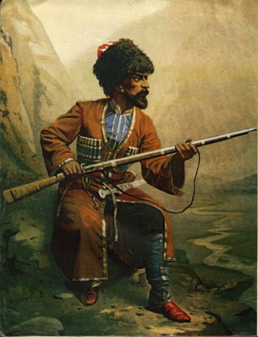 Painting of a Circassian soldier from the Circassian-Russian War