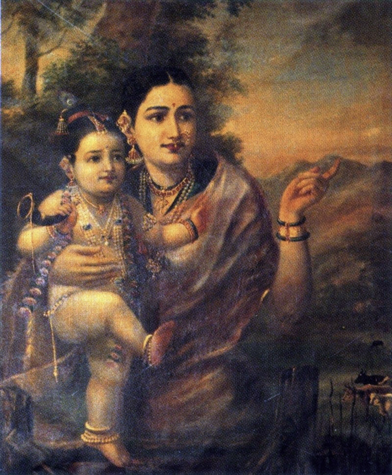 Painting of Krishna's foster mother, Yasoda, with the child Krishna