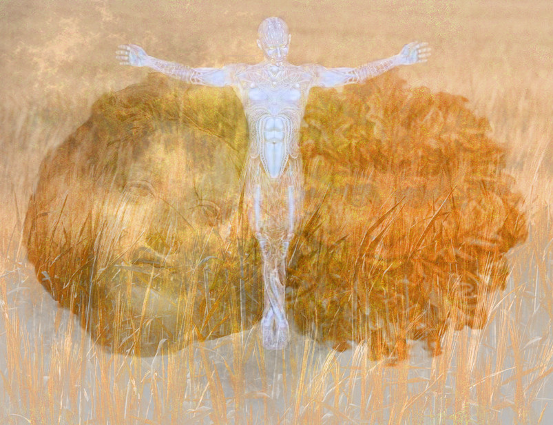 Crucified man, wheat field, and heads of a woman for the Goddess and the Green Man for the God