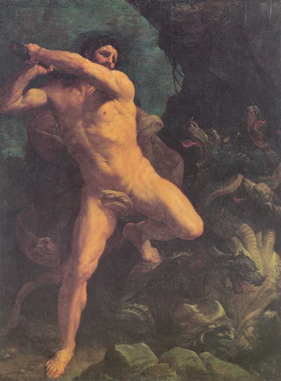 """Heracles and the Hydra"" (1620) Painting by Guido Reni. In the public domain."