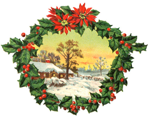 Illustration of wreath with winter scene in the center