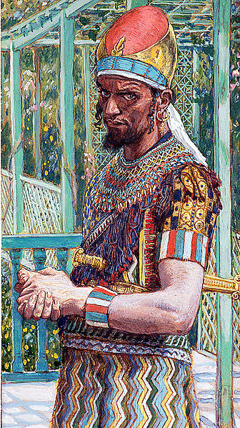"""King Herod, classic tyrant. """"Herod the Great"""" Painting by James Tissot (1900?). In the public domain."""