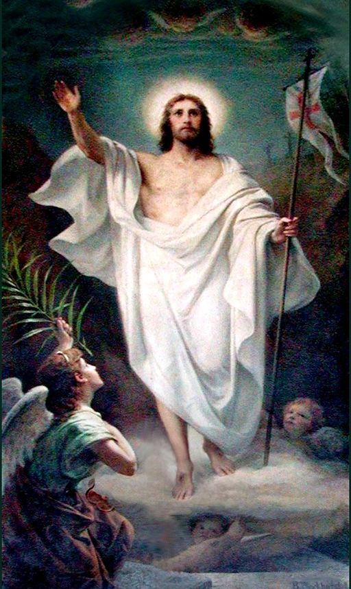 Painting of Jesus rising from the grave.