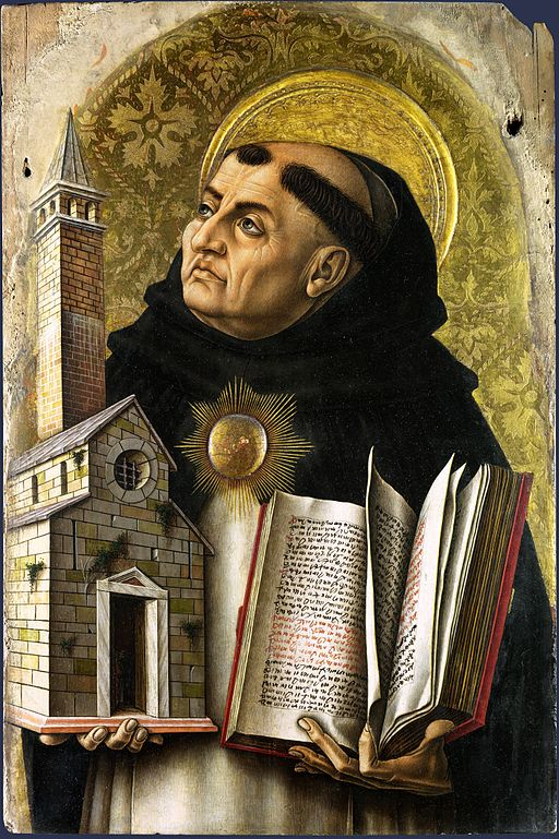 Thomas Aquinas holding a building in one hand and a book in the other.