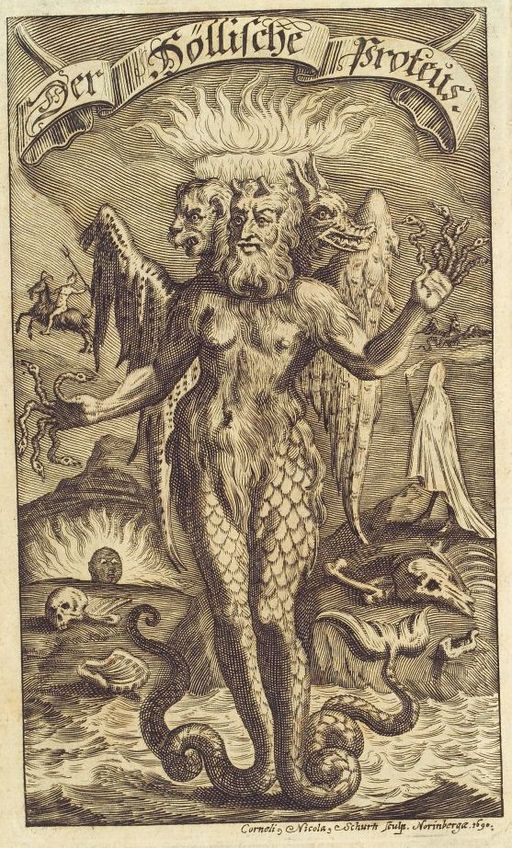 Proteus as sea god with multiple heads.