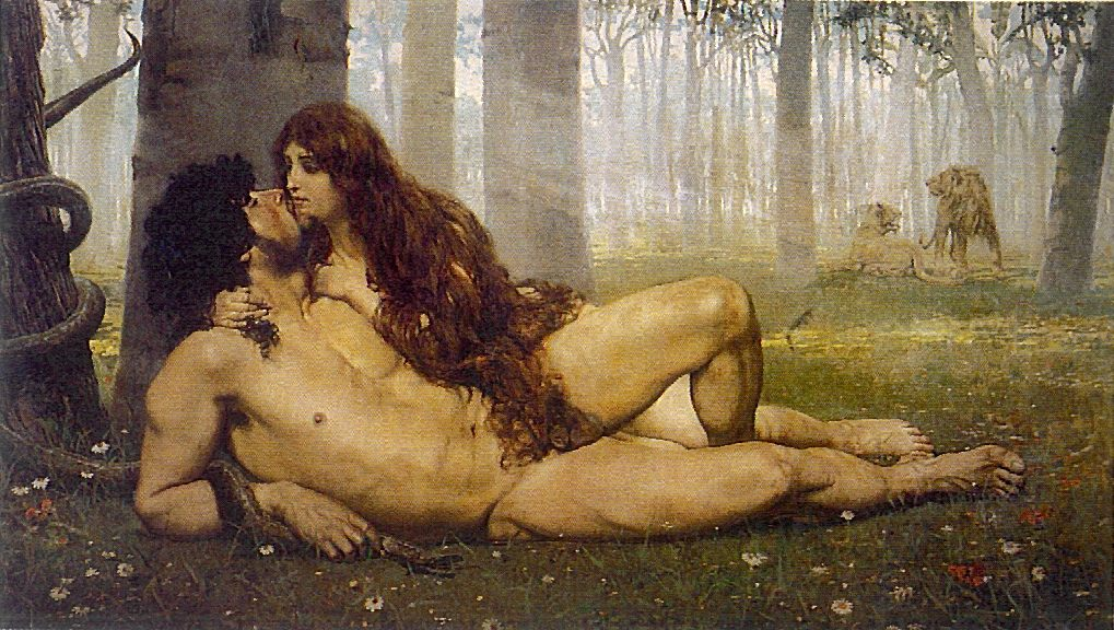 Painting of Eve giving Adam a passionate kiss. Adam is holding the snake.