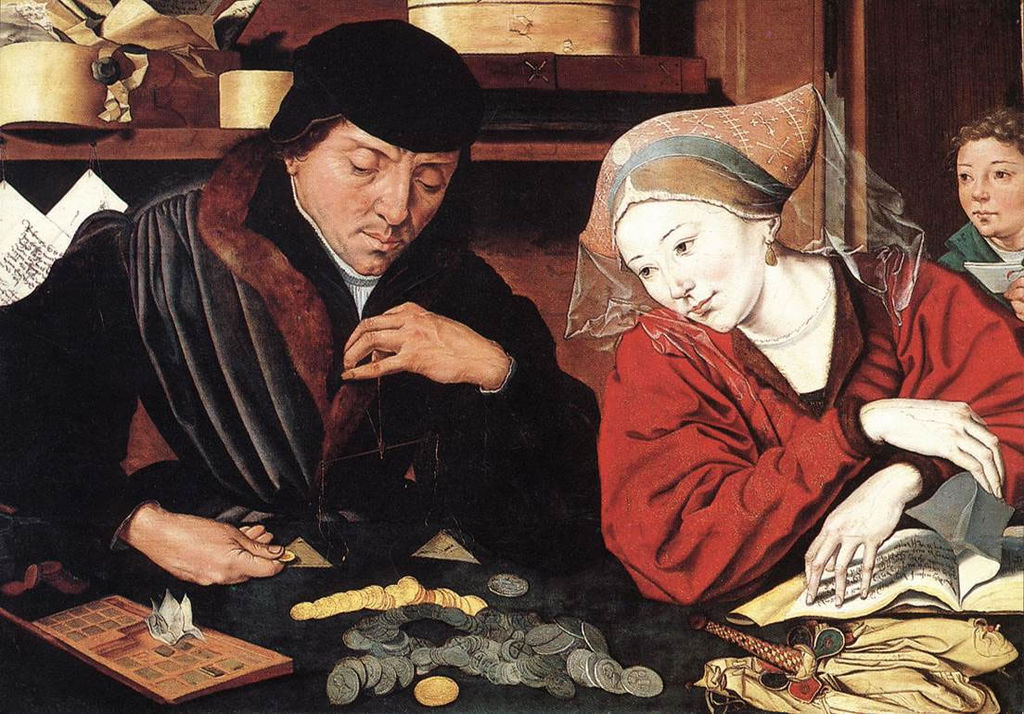 Couple from the sixteenth century looking at a pile of money