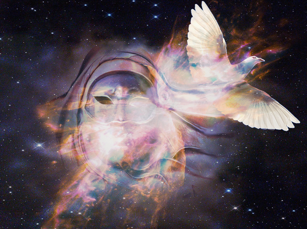 """If this were a dream image, it would be a complex symbol because you'd need to interpret the mask, dove, and light breaking through the night sky. """"Released"""""""