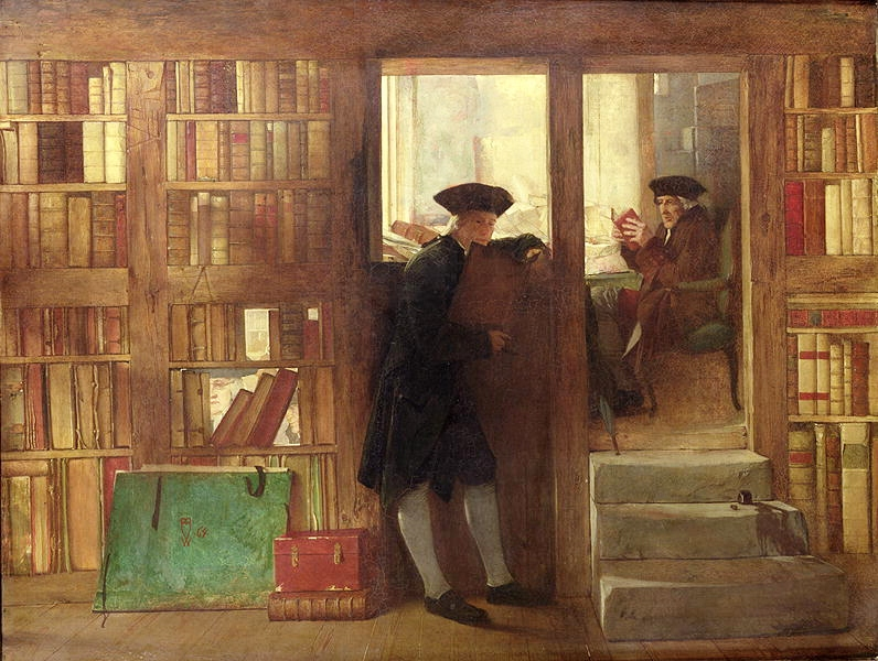 Men from the 18th century reading in a bookstore