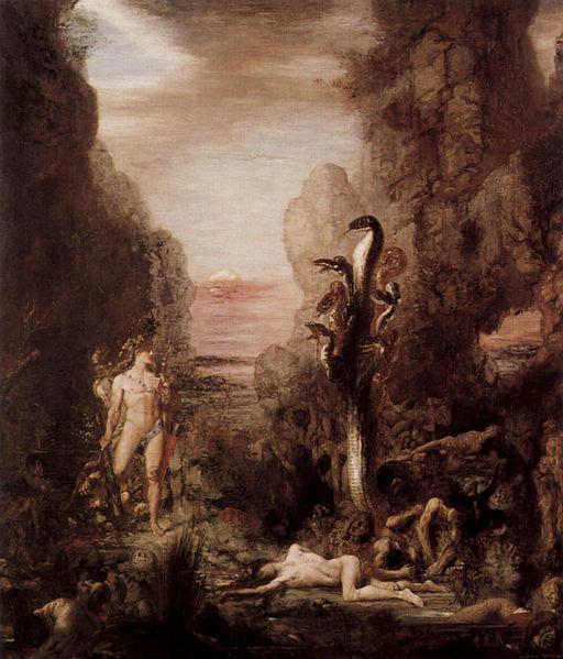 Hercules facing the nine-headed serpent, the Hydra