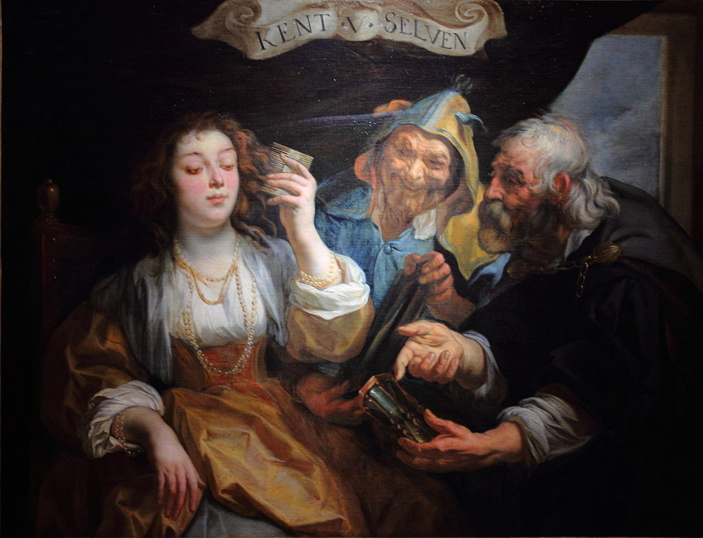 "In my dream, breaking illogical rules from the past appeared brought on the ""vice squad,"" a judgmental part of the mind meant to make me stick to those rules. ""Know Yourself: Youth Between Vice and Virtu"" Painting from Jacob Jordaens, Flemish painter of the 17th century. In the public domain."