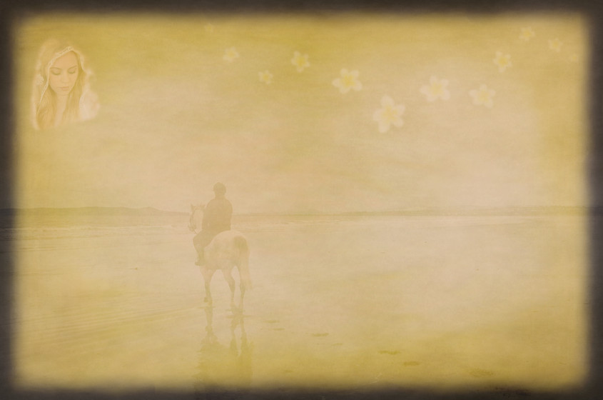 Rider on horseback on beach riding towards goddess in the sky with flowers blowing off to the right